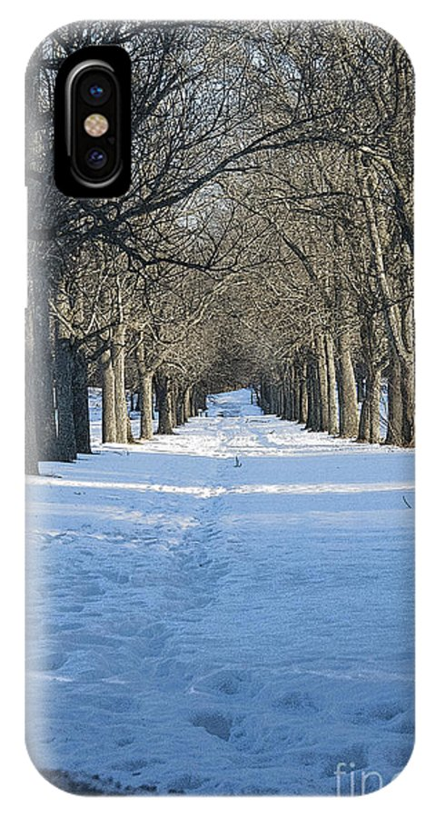 Snow IPhone X Case featuring the photograph Winter Foot Prints by Ruth H Curtis