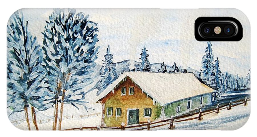 Winter IPhone X Case featuring the painting Winter Idyll With Text by Christine Huwer