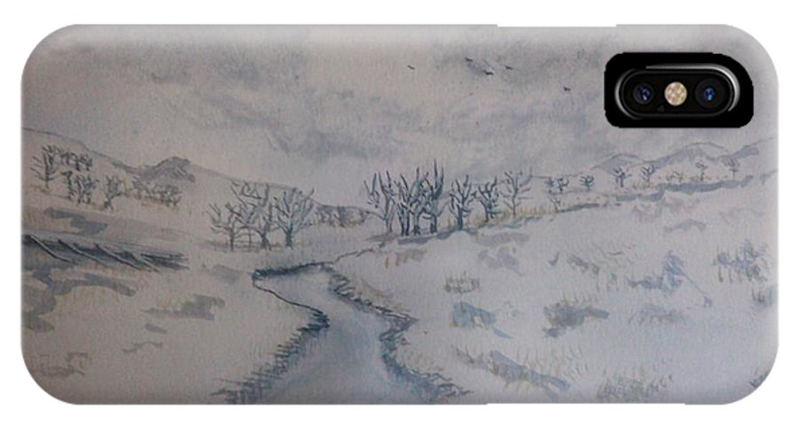 Landscape IPhone X / XS Case featuring the painting winter in Montana by Van Harrald