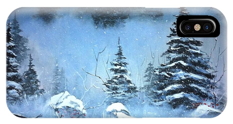 Trees IPhone X Case featuring the painting Winter In The Forest by Clifford Knoll