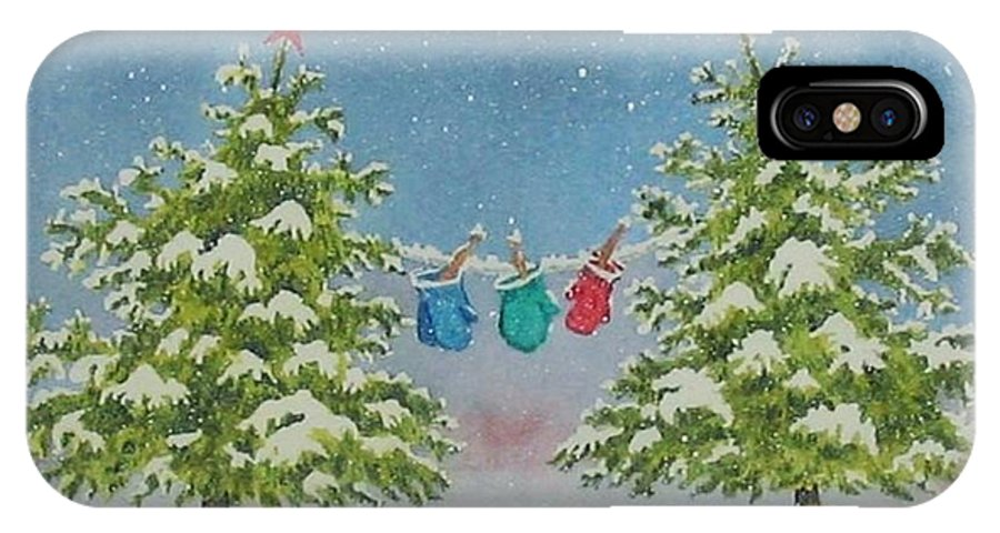 Fun IPhone X Case featuring the painting Winter Is Fun by Mary Ellen Mueller Legault