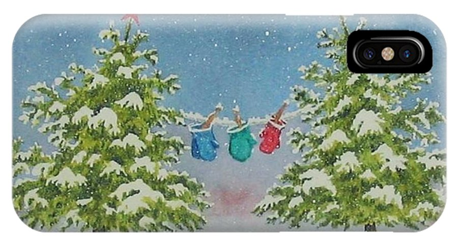 Fun IPhone X / XS Case featuring the painting Winter Is Fun by Mary Ellen Mueller Legault