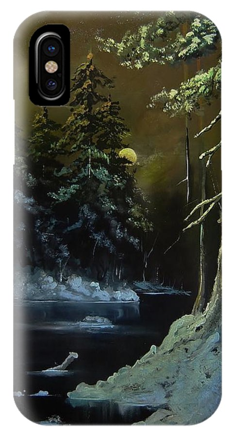 Landscape IPhone X Case featuring the painting Winter Moon by Eugene Budden