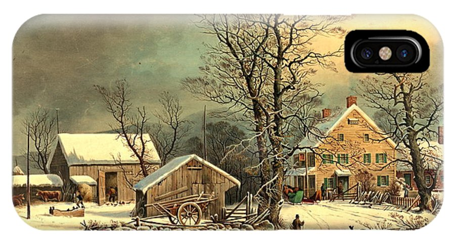 Winter Morning 1863 IPhone X Case featuring the photograph Winter Morning 1863 by Padre Art