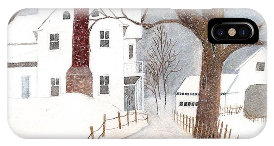 Landscape IPhone X Case featuring the painting Winter Morning At The Big White House by June Holwell