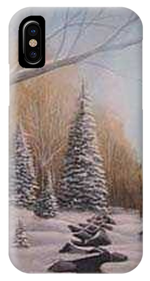 Rick Huotari IPhone X Case featuring the painting Winter Morning by Rick Huotari