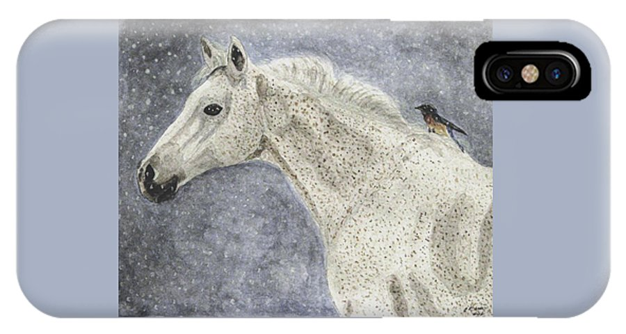 Watercolors IPhone X Case featuring the painting Winter Rider by Angela Davies