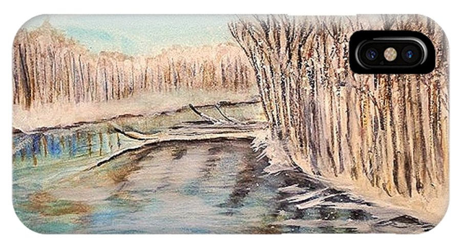 Landscape IPhone X Case featuring the painting Winter River Scene by Linda Waidelich