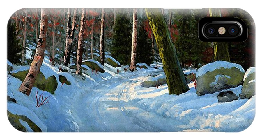 Landscape IPhone Case featuring the painting Winter Road by Frank Wilson