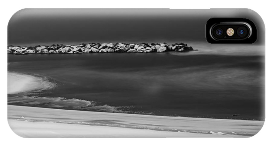 Night Photography IPhone X Case featuring the photograph Winter Snow Over The Chesapeake by Mary Martin