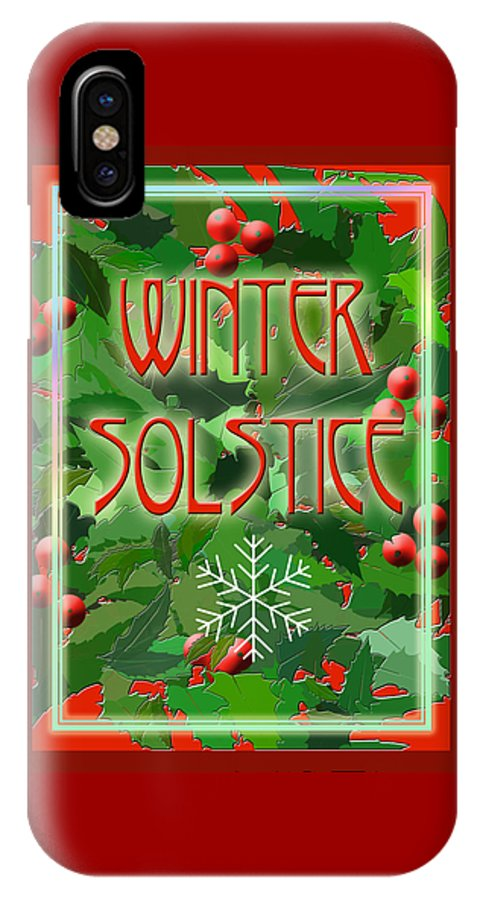 Yule IPhone X Case featuring the digital art Winter Solstice by Melissa A Benson