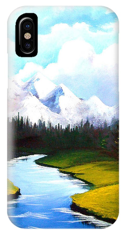 Landscape IPhone X Case featuring the painting Winter Spring by Richard Bantigue