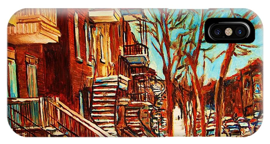 Verdun Paintings By Montreal Street Scene Artist Carole Spandau IPhone X Case featuring the painting Winter Staircase by Carole Spandau