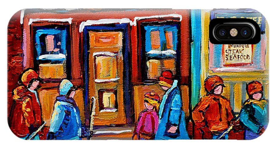 Montreal IPhone X Case featuring the painting Winter Street In Saint Henri by Carole Spandau