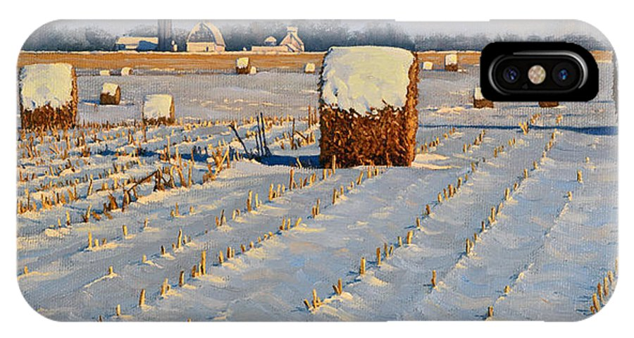 Landscape IPhone X Case featuring the painting Winter Stubble Bales by Bruce Morrison