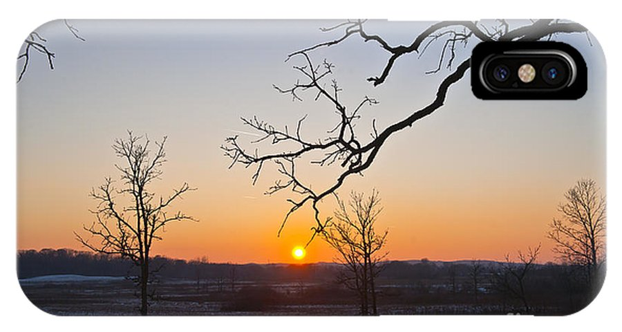 Winter Sunset IPhone X Case featuring the photograph Winter Sun Ornament by Dan Hefle