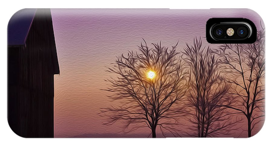 Winter IPhone X Case featuring the photograph Winter Sunset by Aged Pixel