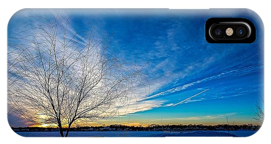 Bare Tree IPhone X Case featuring the photograph Winter Sunset At Diamond Lake by Jaime Aguirre