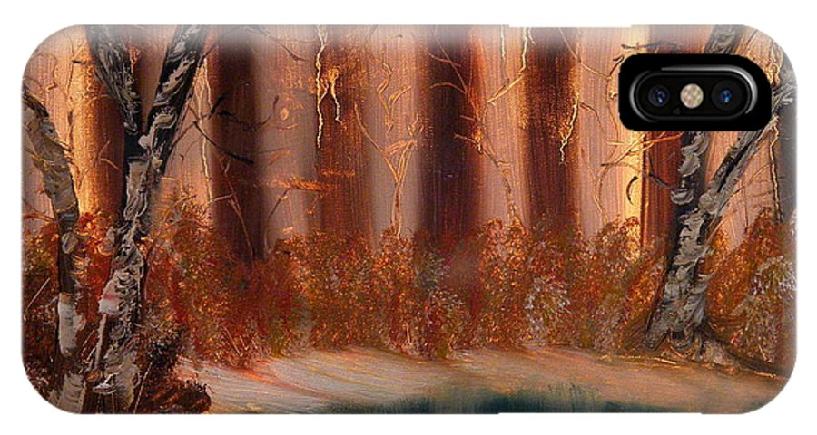 Landscape IPhone X Case featuring the painting Winter Thaw by Margaret G Calenda