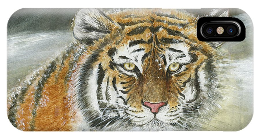 Tiger IPhone X Case featuring the painting Winter Tiger by Yan Tomazin