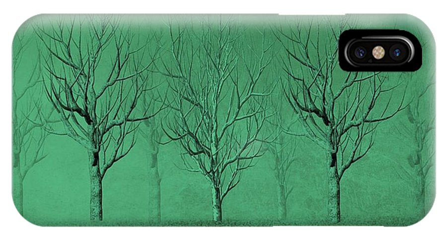 Trees IPhone X Case featuring the digital art Winter Trees In The Mist by David Dehner
