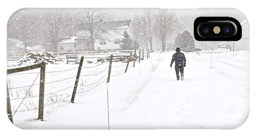 Amish IPhone X Case featuring the digital art Winter Walk by Leland Lewis