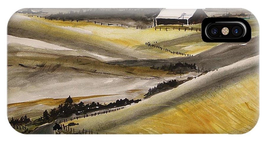 Barn IPhone X Case featuring the painting Winter Wheat by John Williams