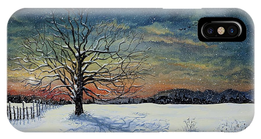 Oak Tree IPhone X Case featuring the painting Winters Eve by Mary Palmer