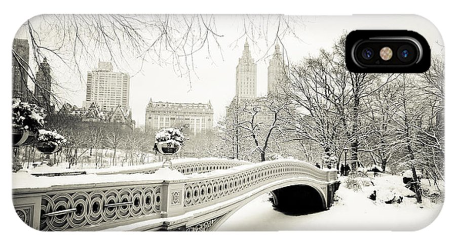 New York City IPhone X Case featuring the photograph Winter's Touch - Bow Bridge - Central Park - New York City by Vivienne Gucwa