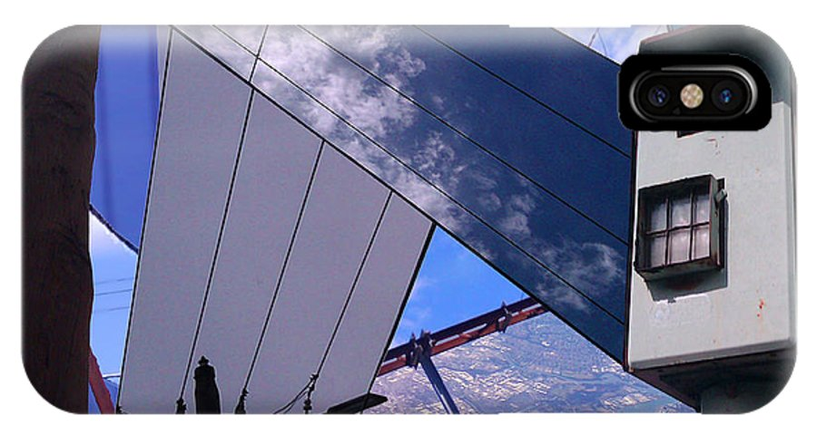 Will Brodie Combinerart.com Original Digital Photographic Collage Of Proscriptive Urban Skies. IPhone X Case featuring the mixed media Wired Then Framed by Will Brodie combinerart