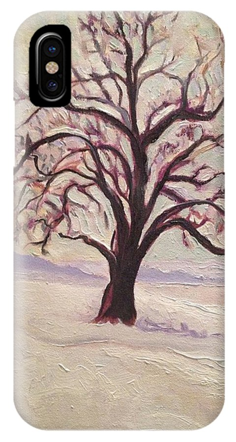Impressionism IPhone X Case featuring the painting Wisconsin Winter by Sal Settecase