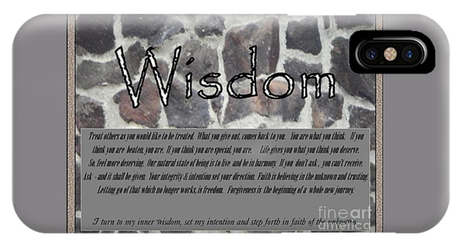 Acrylic Prints IPhone X Case featuring the photograph Wisdom In Stone Inspirational by Bobbee Rickard