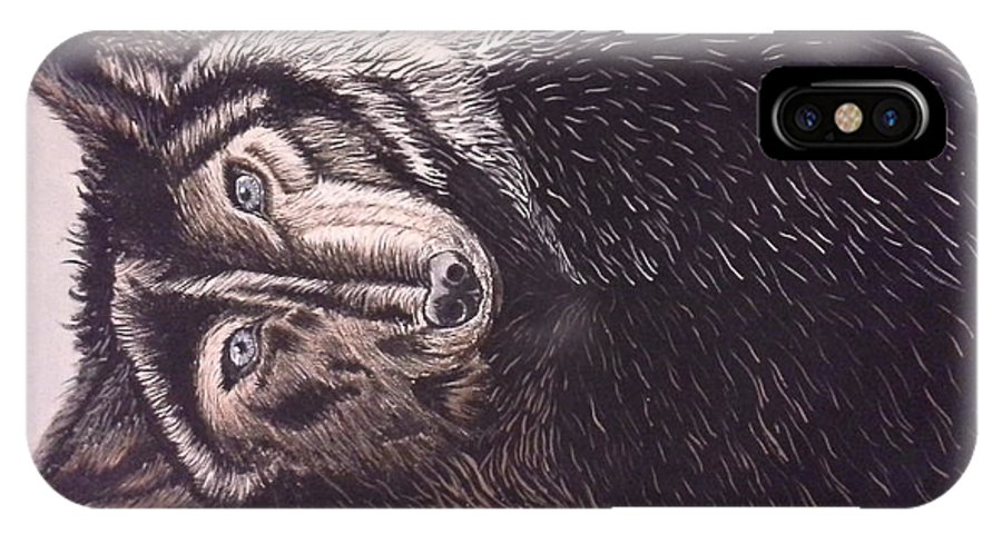 Nature IPhone X / XS Case featuring the painting Wolf by Altagracia Enriquez