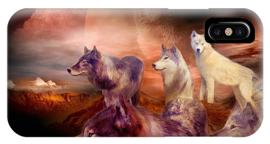 Wolf IPhone X Case featuring the mixed media Wolf Mountain by Carol Cavalaris