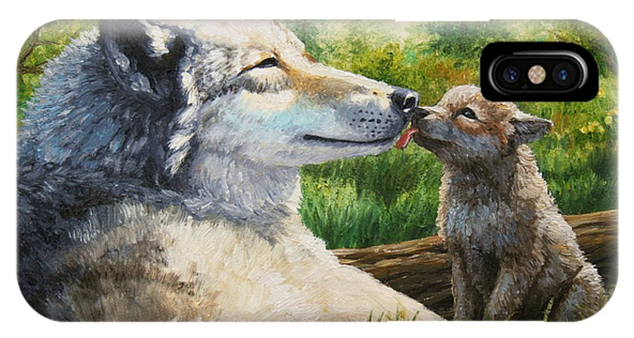 Wolf Painting - Spring Kisses IPhone X Case