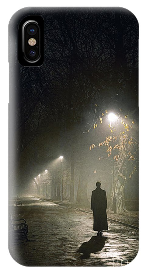 Woman IPhone X Case featuring the photograph Woman Alone On A Park Avenue by Lee Avison