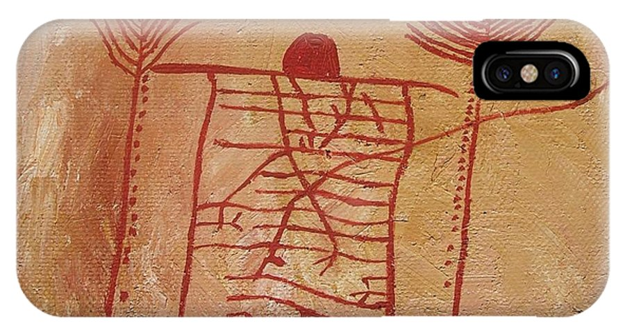 Prehistoric IPhone X Case featuring the painting Woman Holding Yuccas by Vera Smith