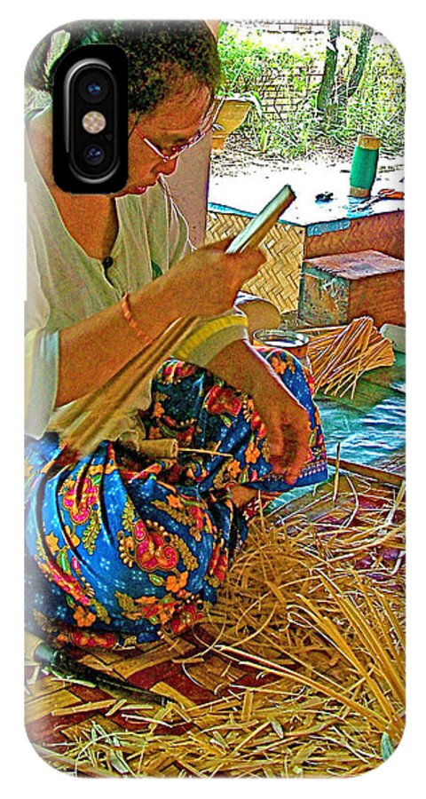 Woman Making Umbrella Ribs At Borsang Umbrella And Paper Factory In Chiang Mai IPhone X Case featuring the photograph Woman Making Umbrella Ribs At Borsang Umbrella Factory In Chiang Mai-thailand by Ruth Hager