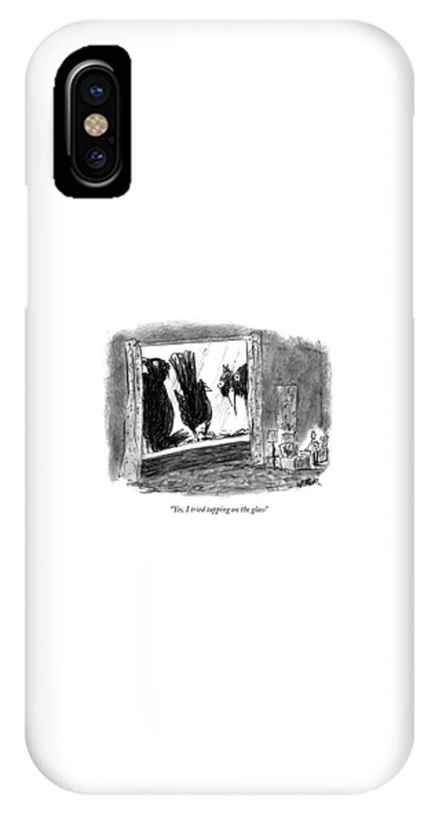 Nature IPhone X Case featuring the drawing Woman On The Phone by Robert Weber