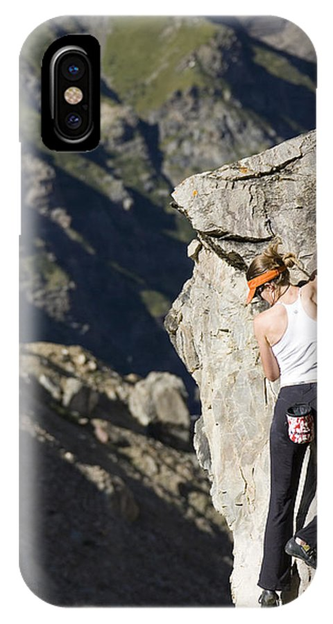 Adventure IPhone X Case featuring the photograph Woman Rock Climbing, India by Gabe Rogel