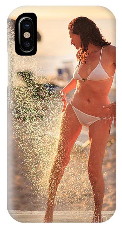 Woman IPhone X Case featuring the photograph Woman Taking Shower On Beach by Konstantin Sutyagin