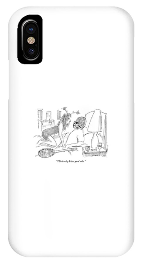 Sex Interiors Sports Games Relationships  IPhone X Case featuring the drawing Woman Wearing Silly Headband To Man In Bed by Michael Crawford