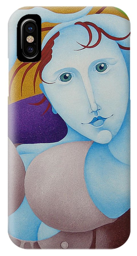 Sacha IPhone X Case featuring the painting Woman With Raised Arms 2006 by S A C H A - Circulism Technique