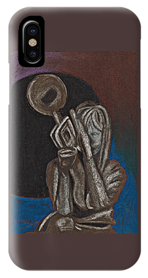 Trumpet IPhone X / XS Case featuring the painting Woman With Trumpet by Tom Conway