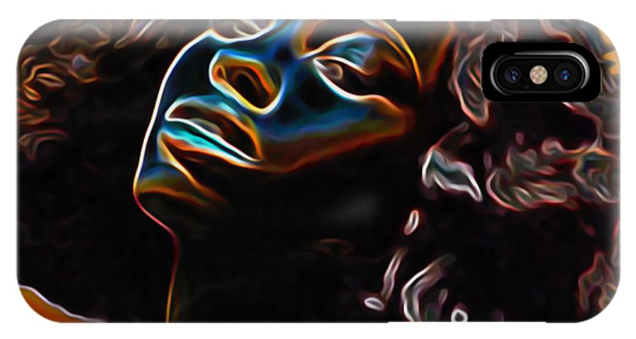 Womans Essence Ii; Essence; Woman; Girl; Female; Face; Hair; Head; Portrait Painting; Figurative Art; Modern Art; Colorful Painting; Contemporary Art; Impressionism Art; Oil On Cnavas; Original Painting; Tradigital Art; Digital Art; Fine Art; Fine Art Print; Fine Art America; Black; Blue; Fli; Orange; Yellow; Brown; Eyes; Nose; Mouth; Lips; Shoulders; Afro; Hairstyle IPhone X Case featuring the painting Womans Essence II       by Fli Art