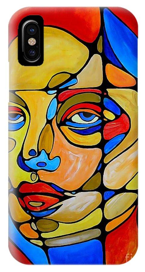 Painting IPhone X Case featuring the digital art Women 450-09-13 by Marek Lutek