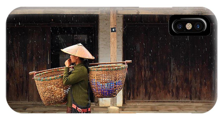Women IPhone X Case featuring the photograph Women Market Walking On Street by Teerawut Punsorn