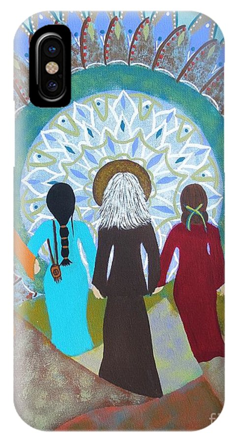 Gathering Of Women IPhone X / XS Case featuring the painting Women's Circle Mandala by Jean Fry