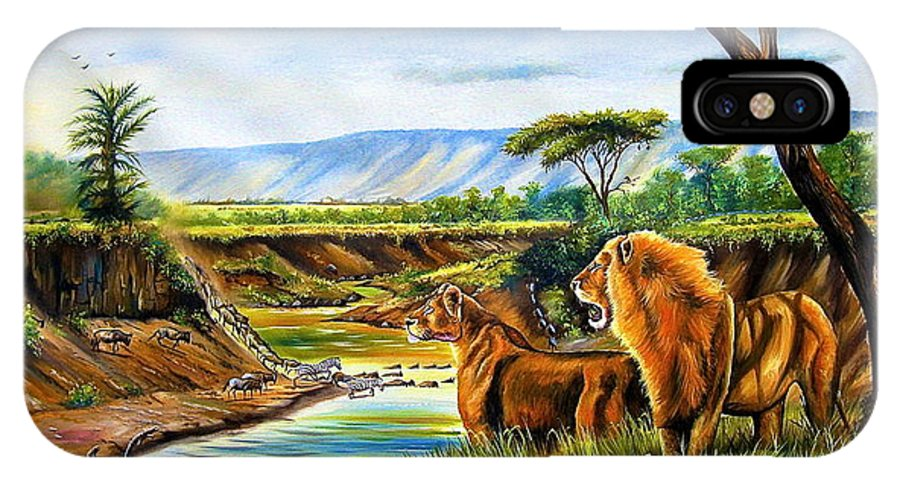 African Paintings IPhone X Case featuring the painting Wonder Of The Great Migration by Chagwi
