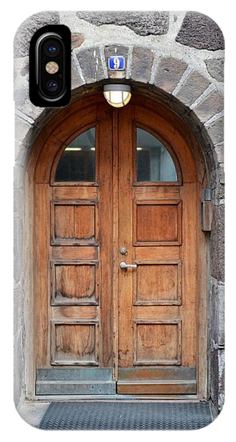 Iceland IPhone X Case featuring the photograph Wood Arch Door Iceland by Paula Deutz